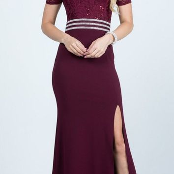 Full Length Off the Shoulder Burgundy Lace and Crepe Dress With Slit