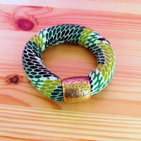 Green Chunky Bangle - African Fabric Ethnic bracelet