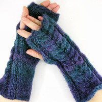 Knit fingerless gloves blue blend knit arm warmers fingerless mittens chunky Cable knit indigo and blue tagt team teamt