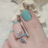 Dragon Fly-Beaded Toe Ring-Free Shipping-Buy One get one free-Foot Accessories - Foot Jewelry -Toe Rings- Gifts Under 10-Get one Free