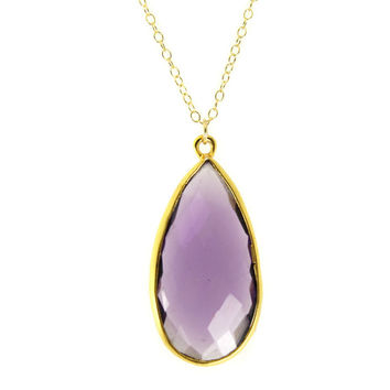 Amethyst  Gemstone Necklace Teardrop Necklace 14K Yellow Gold Chain Bezel Stone Necklace Gemstone Pendant February Birthstone Gift For Her