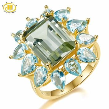 Hutang 9.35ct Natural Gemstone Green Amethyst & Blue Topaz Ring Solid 925 Sterling Silver Yellow Gold Fine Jewelry For Women