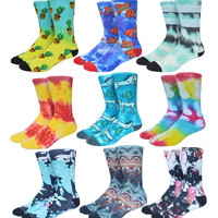 USA brand tie dye Pineapple Pony 3D printed skate socks compression Terry basketball socks men sports meias 567w