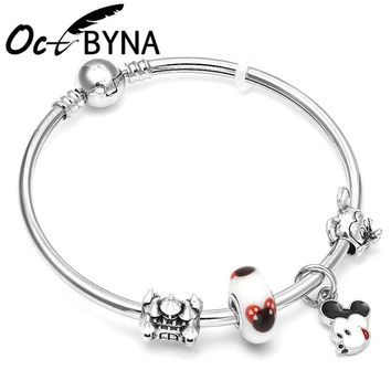 Octbyna Mickey Charm Beads Pandora Bracelets & Bangles Minnie Mouse Jewellery For Women Gift Bijoux Femme Accessories