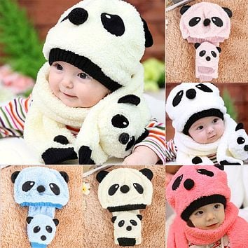 Autumn Winter Baby Super Cute Cartoon Panda Warm Hats+Scarf 2Pcs/Set Boys Kids Girls Boys Crochet Beanie Caps