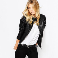 Casual Black PU Leather Zipper Front Jacket