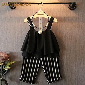 Summer 2017 New Children Clothing Girls Clothes Sets Layers Of Chiffon Camisole + Five Pants Fashion Stripe Suit