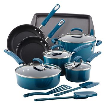 Rachael Ray Hard Enamel Nonstick 14-Piece Cookware Set | Hayneedle