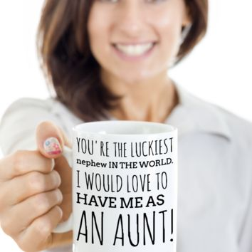 Aunt Mug Gifts For Holidays 2017 2018 - White Ceramic Nephew Cup Tea, Coffee, Cocoa & Cookie Jar Gift Ideas For Siblings