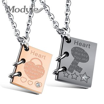 Modyle 2017 New Romantic Pendant Couple Necklace Cubic Zirconia Lock & Key Black Rose Gold-Color Stainless Steel Necklace