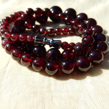 Garnet Necklace 1930s Garnet Bead Necklace January Birthstone Jewelry Supplies Jewelry Making Perfect Gift Something Old