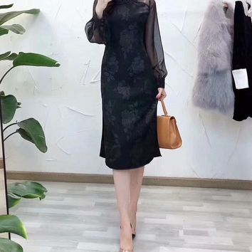 """Valentino"" Temperament Elegant Retro Flower Perspective Gauze Long Sleeve Cheongsam Dress"