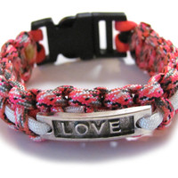 Love Paracord Bracelet Pink Camo and White