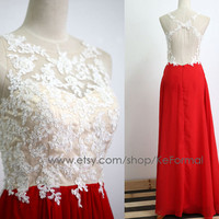 Red Lace  Prom Dresses, Lace Straps Long Red Prom Gown with Open Back, Lace Long Formal Dresses, Long Chiffon & Lace Formal Gown