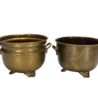 Brass Planters Footed Handles Pair Flower Pots Round Plant Containers Succulent Holders Indoor Garden Cachepots Aged Gold Patina