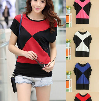 New Women  Summer Korean Splice Bat sleeve  Modal  Short sleeve Round Neck Geometric patterns T-shirt