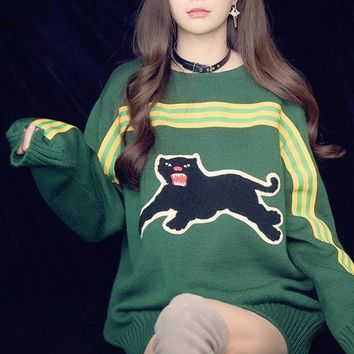 GUCCI HOT SALE Round neck letters printed loose long sleeve pullover knit sweater Tagre™