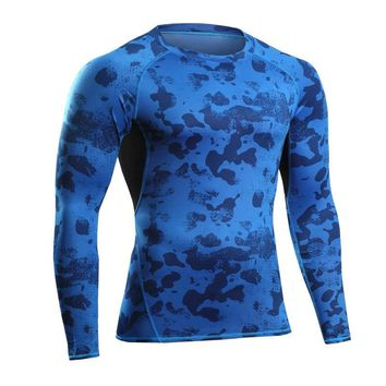 New Fashion Men Long Sleeve T-shirts Camouflage Workout Bodybuilding Crossfit Elastic Compression Quick Dry Male Fashion Shirts