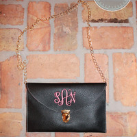 Monogrammed Clutch Purse with Crossbody Chain - Black