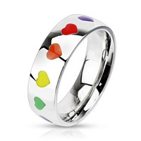 Rainbow Hearts Dome Band Ring Stainless Steel