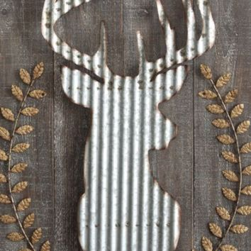 Wood and Metal Corrugated Deer Wall Decor