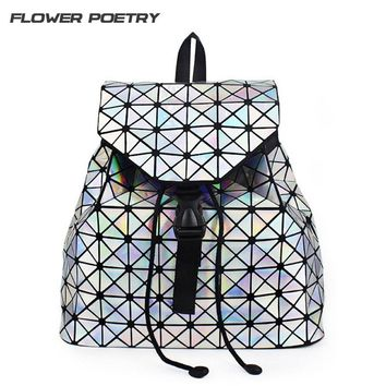 Women Backpack Diamond Lattice Geometry Quilted School Bag Backpacks For Teenage Girl Drawstring School Bags Holographic Mochila