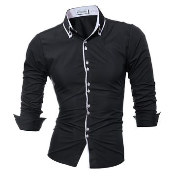 Men Shirt Brand 2017 Male Long Sleeve Shirts Casual Solid Solid Color Hit Color Slim Fit Dress Shirts Mens XXXL 7 Color