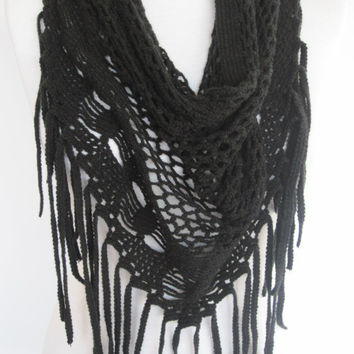 Black Knitted Fringed Scarf / Shawl, Lace Scarf, Cowl, Headband, Infinity Scarf, Triangle Scarf