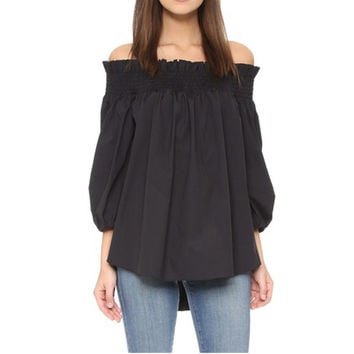Fashion Spring Summer Women Sexy Off Shoulder Shirt Plus Size Loose Irregular Party Tops Casual Bow-knot Sleeve Blusas