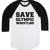 Saving Olympic Wrestling One Shirt at a Time-White/Black T-Shirt
