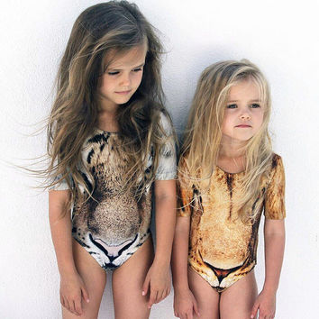 Special Fashion Trend Kids Baby Girls Leopard Print Swimsuit Swimwear Bathing Suit One-piece Clothes swim clothing for kids
