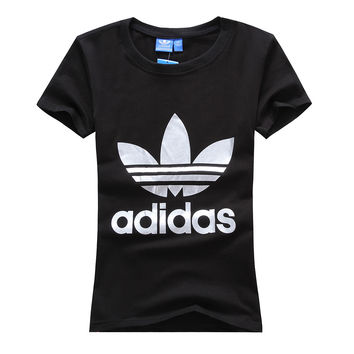"""""""Adidas"""" Women Simple Casual Silver Clover Letter Print Round Neck Short Sleeve Cotton T-shirt"""
