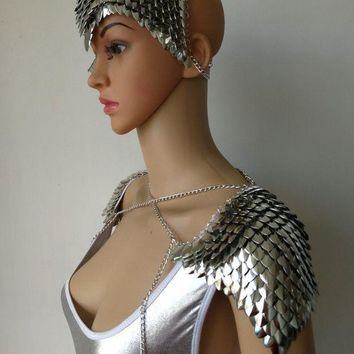 ac PEAPO2Q New Fashion Style B756 Silver Scalemail Mermaid Fish Scales Head Chains Layers Head Hair Chains Jewelry 2 Colors