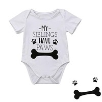 Newborn Infant Baby Boy Girls Funny Bone Romper Jumpsuit Clothes Outfits