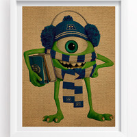 Mike Wazowski Poster - Monsters University Poster - Monsters University Print Art - Monsters University Burlap Effect Poster