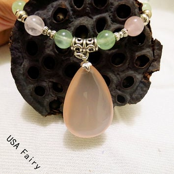 Rose Quartz Necklace  Prehnite Necklace