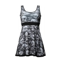 "Woman's ""Skull Pile"" Penny Dress by Kreepsville 666 (Black/ White)"