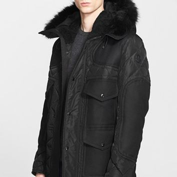 Men's Moncler 'Gamunont' Mixed Media Down Jacket with Genuine Coyote and Shearling Trim,