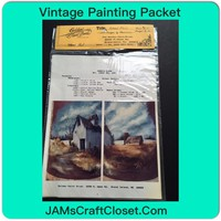 Vintage Painting Packet #16 Another House and Barn Along the River