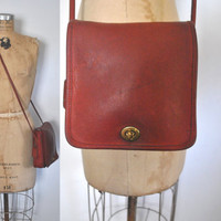 RED Sqaure Coach Bag Purse / genuine leather