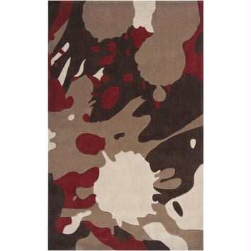 Area Rug - Maroon Red, Biscotti, Driftwood Brown, Dark Brown