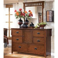 Colter Mission Style Dresser and Mirror Vanity Set by Signature Design by Ashley - Wayside Furniture - Dresser & Mirror Akron, Cleveland, Canton, Ohio