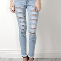 Flying Monkey High Waisted Slashed Skinny Jeans