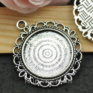 5pcs Antique Silver Cameo Cab Frame Blank Setting Charms Pendants Fit 25mm Cabochon Setting