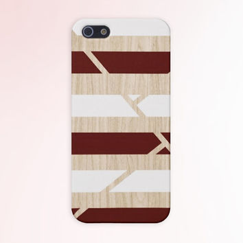 Geometric Burgundy x White x Wood Stripe Case for iPhone 6 6+ iPhone 5 5s 5c iPhone 4 4s and Samsung Galaxy s5 s4 & s3