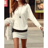 Wholesale Stylish Scoop Neck Long Sleeve Packet Buttock Sequin Embellished Slimming Cotton Dress For Women (WHITE,ONE SIZE), Mini Dresses - Rosewholesale.com