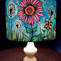 Flower, Toadstool & Dandelion Clock, Hand Silk Painted Lamp Shade, 30cm Drum, Made To Order.