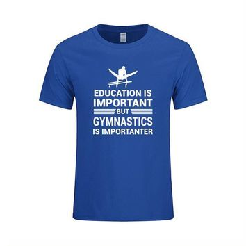 "Men's Gymnastics T-Shirt ""Education Important But Gymnastics is Importanter"" Blue"