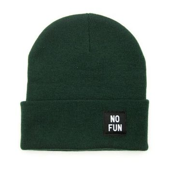 No Fun Label Beanie - Hunter Green