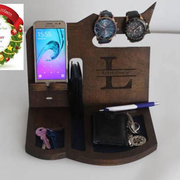 Gift For Him Charging Station Organizer Personalized Cell Phone Holder Desk